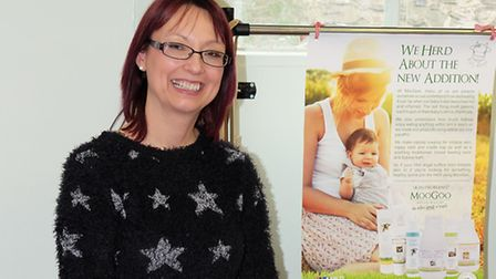 Tessa Crook of The Bees Knees with some of her natural products at Royston Baby Show