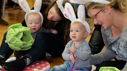 Children and their parents take part in a Hartbeeps taster session at Royston Baby Show