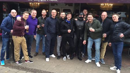 James with the rest of his stag party after he 'escaped' from the lamppost