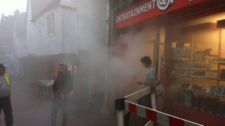 Security fog screen in action at the CeX store in Market Place, St Albans