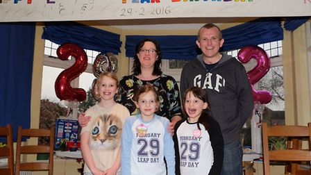 The Nelson family, mum Emily, dad Jamie, Charlotte, 9, Emma and Jamie, 8 celebrate their twin daught