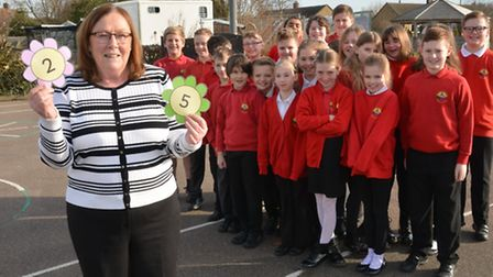Alconbury School teacher Maria Radwell, has been there for 25 years, with her class of Year 6 pupil