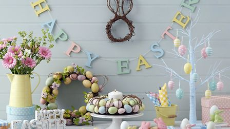 Happy Easter garland, 9; wreaths from 24 each; tree, 25; 5; standing sign, 12, The Contemporary Home