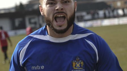 Louie Theophanous grabbed a late winner for St Albans City at Concord Rangers. Picture: BOB WALKLEY
