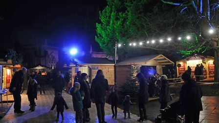 The St Albans Christmas market stalls in the Vintry Gardens