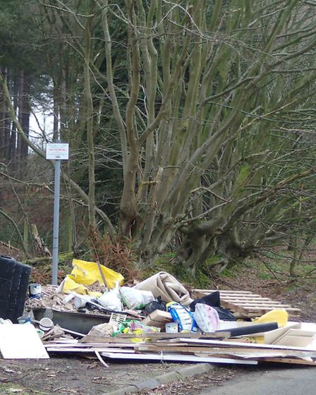Fly-tipping in Potterscrouch Lane. Photo by Paul Foster