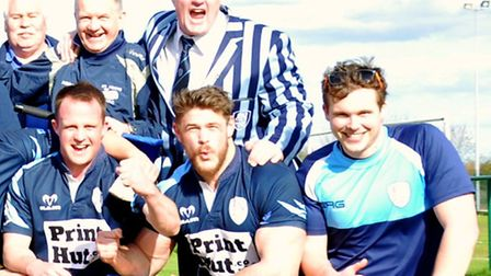 St Neots Saints Rugby Club celebrate at the conclusion of their perfect season.