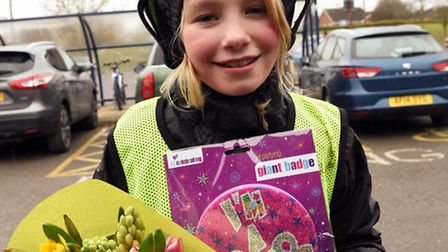 Esme Johnson, aged nine, cycled from her home to Hinchingbrooke Hospital, a journey of 13 miles,