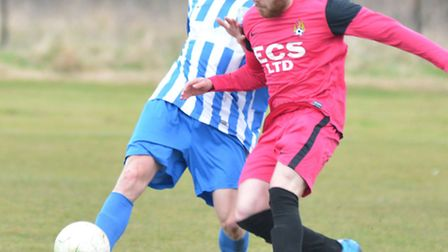 Action from the derby clash between Eynesbury Rovers A and Paxton United Reserves. Picture: HELEN DR