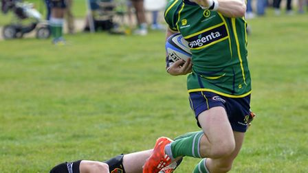 Tom Morgan scored the last-gasp try that earned Huntingdon victory.