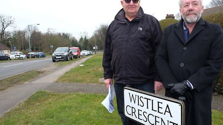 Resident Paul Winsor and cllr Chris Brazier on Wistlea Crescent where they have been campaigning for