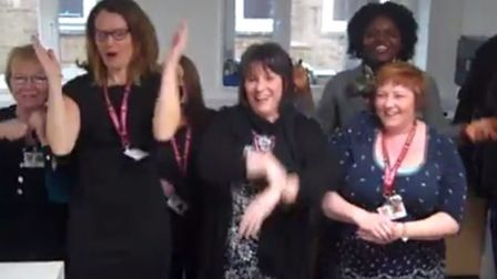 Teachers and staff at St Ivo School perform Uptown Funk for Sport Relief