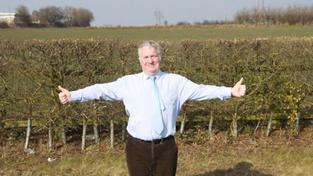 MP for Hemel Hempstead Mike Penning in front of the Crown Estate land