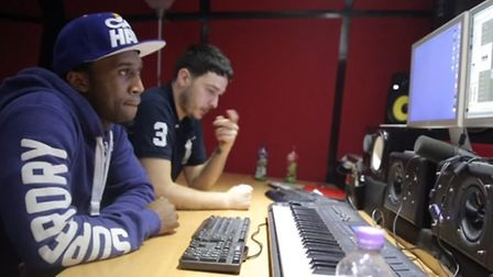 Ice Playa and K Koke during their studio session