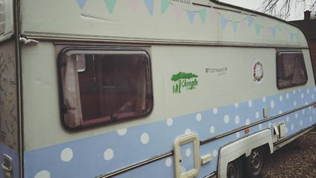 The Herts Belles WI spent months renovating the caravan - photo courtesty of Penny Carr