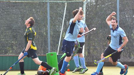 Joe Derby (centre) and Dan Sutton (right) celebrate a St Neots Men's 1sts goal in the win against El