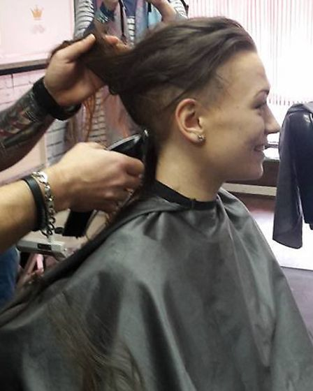 Faye had her hair shaved off for Steph's Wishes.