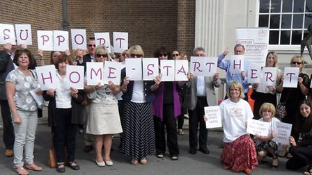 Home-Start supporters protest outside County Hall after budget cuts