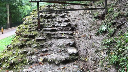 A section of railing has been installed to prevent people from climbing on the Roman wall in Verulam