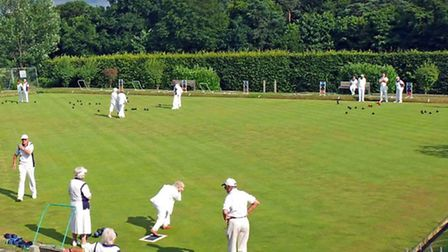 The players at Radlett Bowls Club, mid-game