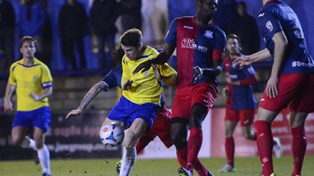Lee Chappell battles through the Weston defence. Picture: BOB WALKLEY