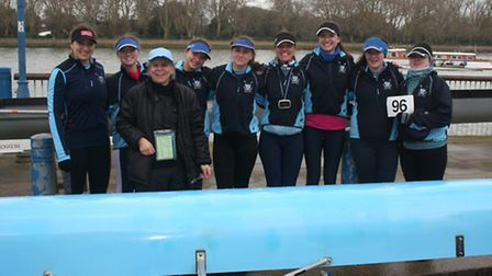 The St Neots Rowing Club ladies crew are, back row, left to right, Kat Harris, Olivia Hooper, Martin
