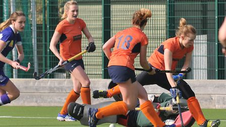 Briony Anyon forces a save from the keeper