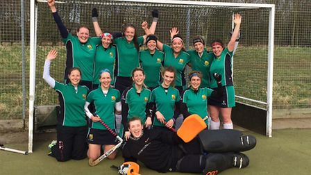 St Ives Ladies 1sts celebrate their title triumph. They are, back row, left to right, Holly Stride,