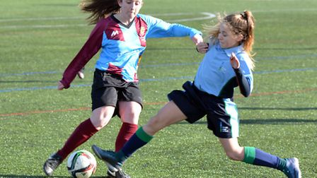Action from the St Ivo School Under 14 girls team's national semi-final triumph. Picture: HELEN DRAK