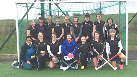 The Huntingdon Ladies 1sts are back row, left to right, Natalie Dobson, Joan Griffiths (umpire), Pam