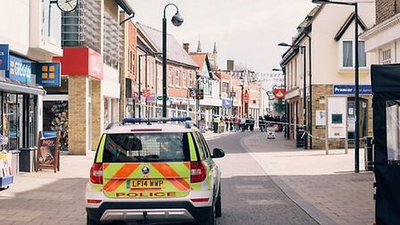 Huntingdon's High Street was cordoned off by police. Picture: Christopher Gray