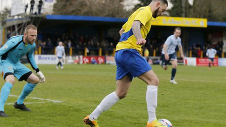 Louie Theophanous put St Albans into an early lead against Wealdstone. Picture: LEIGH PAGE