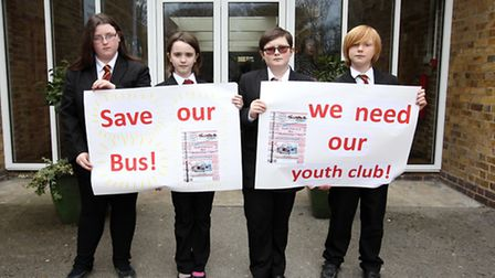 Ellie Kendall, Saffron Dixon, Jacob Smith and Joey Reader from Bassingbourn School are protesting to