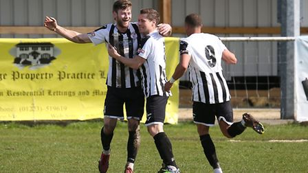 Charlie De'Ath celebrates his equaliser during St Ives Town's defeat at the hands of Barton Rovers.