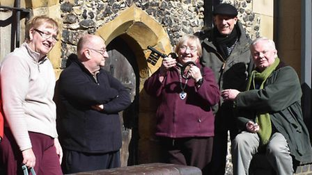 Cllr Gill Clark opens the Clock Tower in St Albans for the season - the landmark is also hosting an