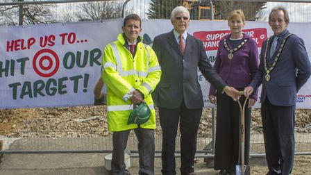 SPADE AT THE READY: left to right Paul Newland, director of Newland Construction Ltd, museum chairma