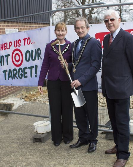 SPADE AT THE READY: left to right Cllr West, Cllr Rutledge, museum chairman Alan Brackley. Photo: GA