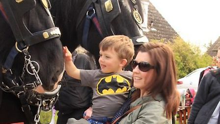 Andrea Todman and son Harry making friends with Alfie the shire horse. PICTURE: Clive Porter.