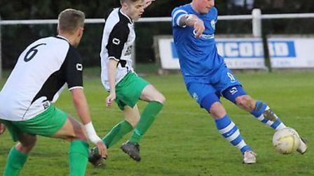 Jon Clements scored his second and London Colney's third against Leverstock Green. Picture: JIM WHIT