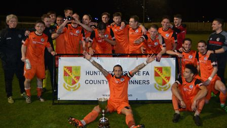 St Ives Town celebrate their Hunts Senior Cup triumph. Picture: HELEN DRAKE