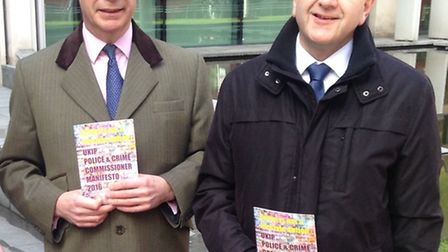 Mark Hughes, pictured with Nigel Farage, is UKIP's Police & Crime Commissioner candidate for Hertfor