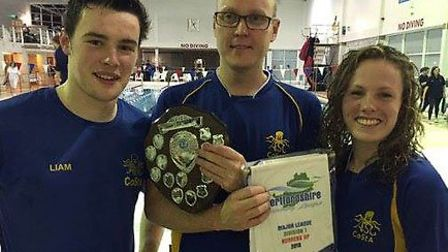 CoStA Head Coach Mike Cole (centre) with team captains Liam Curran and Georgie Lawson