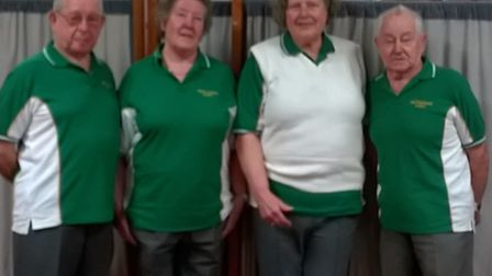 Pictured from left to right at the finals: Gordon Burrow, Elizabeth Bradley, Diana Davies and Tony S