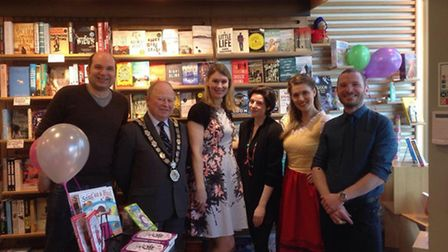 The mayor, manager Ines Freitas, author Tamsyn Murray, area managers Matt Gretton and Sean Farrell