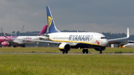 An Ryanair plane takes off at Luton Airport