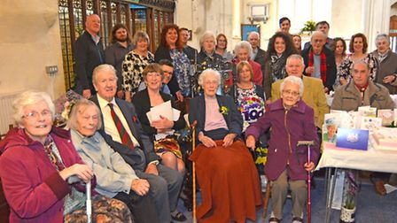 100 year old Vera Arnold, at St Marys Church, Godmanchester, with her family,