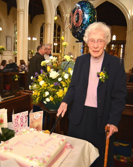 100 year old Vera Arnold, at St Marys Church, Godmanchester,