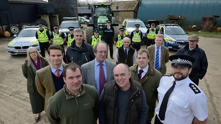 Front: Farmer Lawrence Poulter and Bob Lawrence, chairman Cambridgeshire NFU. Second row: Ben Under