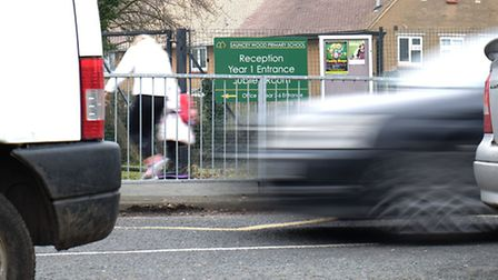 Parking outside Sauncey Wood primary school