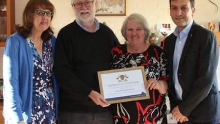(L to r) fostering social worker Jean Hornsby, Michael Molloy, Pat Molloy and Cllr Simon Bywater.
